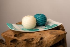 Turquoise groen witte schaal kaarsenplateau van glas uit eigen atelier