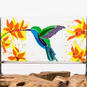 Kleurrijk voorzetraam vogel - glaspaneel met kolibrie en bloemen
