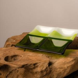 Groen wit glazen tapasschaaltje borrelschaaltje waxinelichthouder