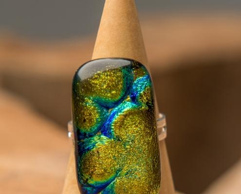 Glazen ring goudkleurig Goldy 2
