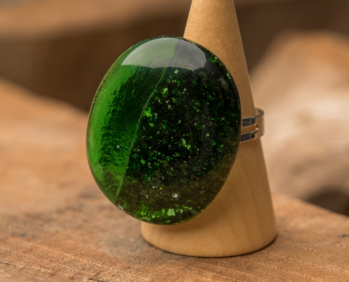 Glazen ring groen Green Glitter