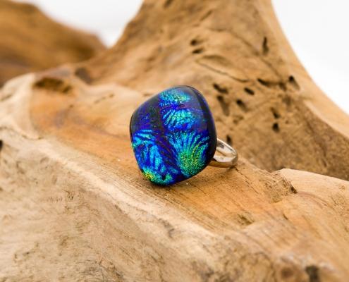 Glazen ring blauw 'Blue Flower'