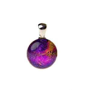 Handgemaakte ronde glashanger met paars glas