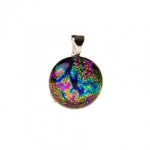 Handgemaakte ronde glashanger met meerkleurig glas