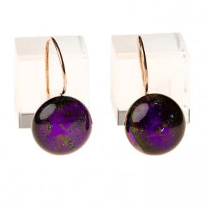 Handgemaakte lange paarse oorbellen van glas