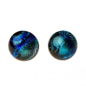 Handgemaakte oorstekers van zwart zeegroen blauw glas