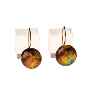 Handgemaakte lange oranje groene oorbellen van glas