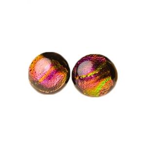 Handgemaakte oorstekers van zwart roze oranje geel groen glas