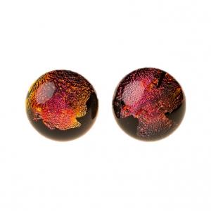 Handgemaakte oorstekers van rood oranje geel zwart glas