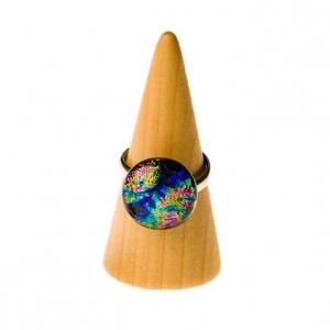 Handgemaakte verstelbare 925 zilveren ring met meerkleurig glas in regenboogkleuren