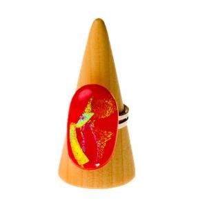Handgemaakte verstelbare ring met rood goud glas